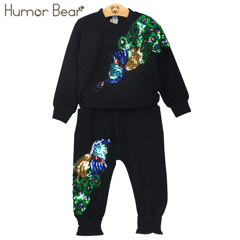 Humor Bear Girls Clothing Sets Winter Wool Sportswear Long Sleeve peacock Embroidered Sequinsets Kids Clothing Sets humor
