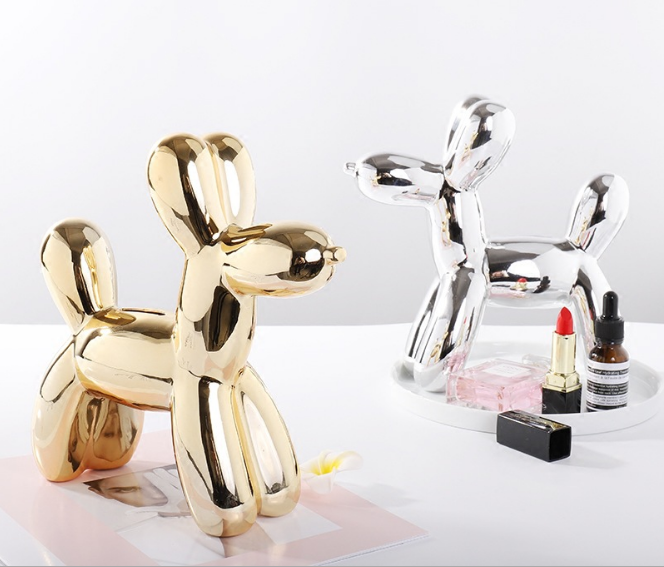 Nordic Balloon Dog Piggy Bank Ceramic Crafts Home Decoration Personality Bedroom Living Room Desktop Ornament Piggy Bank Q318 in Figurines Miniatures from Home Garden