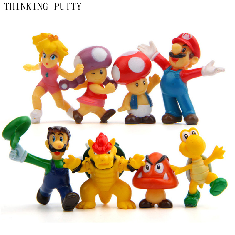 8pcs/Set Super Mario Bros Luigi Mario Bowser Koopa King Action Figures Toys Doll Kids Park Anime Figurines Toy For Children Gift 2017 1025cm cute super mario bros koopa lemmy sitting on ball plush soft stuffed doll toys for kids birthday gifts