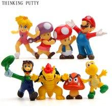 8pcs/Set Super Mario Bros Luigi Mario Bowser Koopa King Action Figures Toys Doll Kids Park Anime Figurines Toy For Children Gift