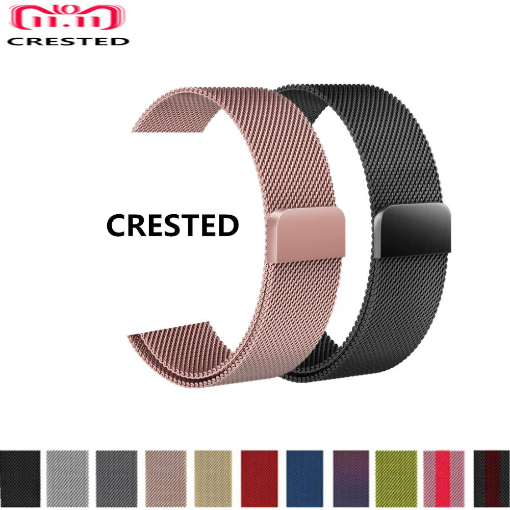 CRESTED Milanese Loop For Apple Watch 4 band 44mm 40mm strap iwatch series 3 2 1 Stainless Steel wrist Link Bracelet belt correa stainless steel watch band 26mm for garmin fenix 3 hr butterfly clasp strap wrist loop belt bracelet silver spring bar