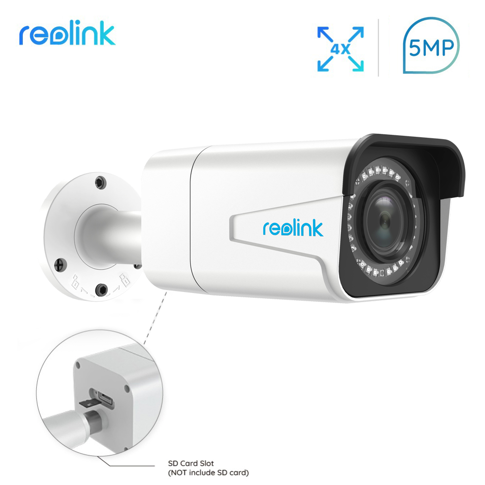 Reolink PoE IP Caméra extérieure 5MP 4x Zoom Optique SD fente pour carte IP66 Étanche Bullet vidéo surveillance RLC-511