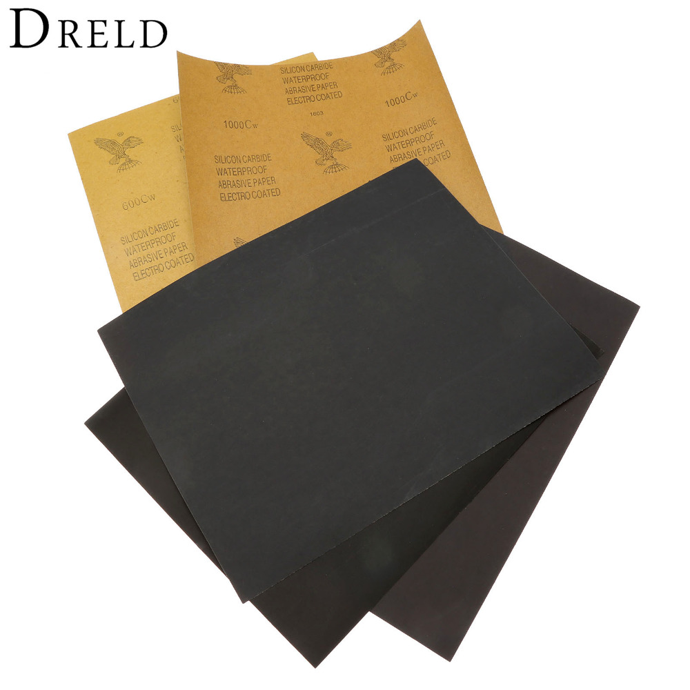 DRELD 5 Sheets Sandpaper Waterproof Abrasive Paper Sand Paper Silicone Grinding Polishing Tool(1xGrit 600 2x1000 1x1500 1x2000)