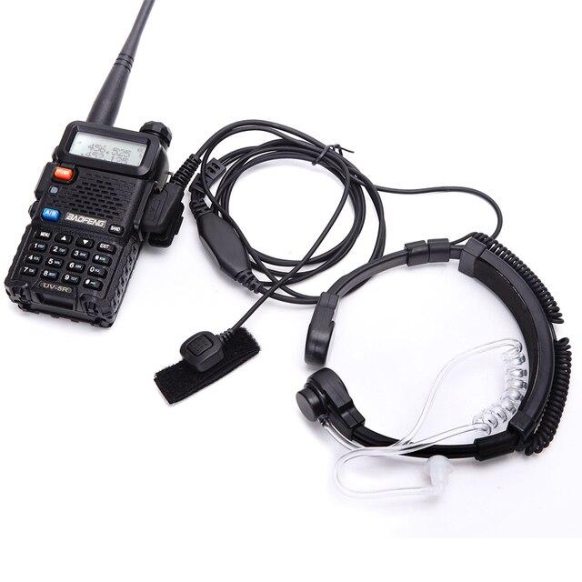 Walkie talkie fone de ouvido garganta microfone tubo acústico fone de ouvido ptt garganta microfone fone para baofeng uv5r uv82 VX 3R