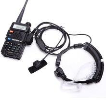 Walkie talkie zestaw słuchawkowy mikrofon gardła akustyczna słuchawka Tube zestaw słuchawkowy PTT mikrofon gardła mikrofon słuchawki dla Baofeng UV5R UV82 VX 3R