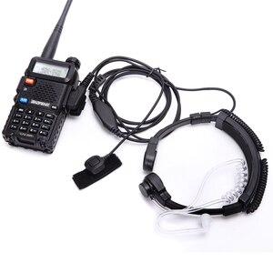 Image 1 - walkie talkie headset throat mic Acoustic Tube Earpiece Headset PTT Throat MIC Microphone Earphone For Baofeng UV5R UV82 VX 3R