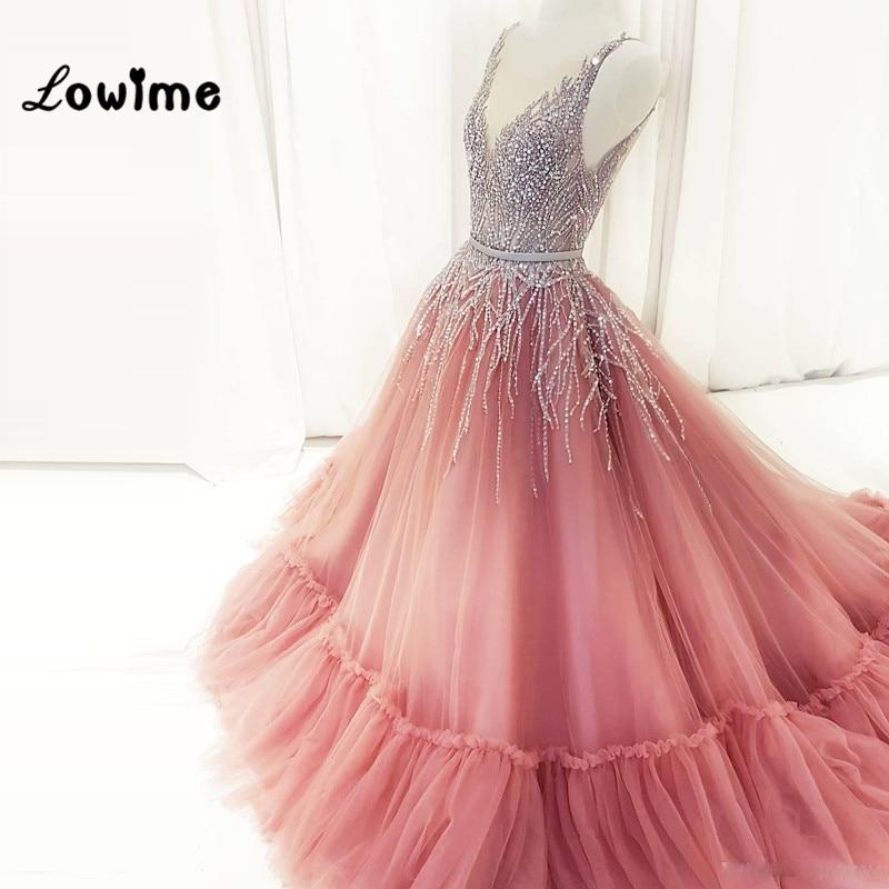 Sexy Vestido De Festa Deep V Neck Prom Dresses Long With Crystals Blush Pink Party Dress Gala Jurken Dress Elegant Evening Gowns