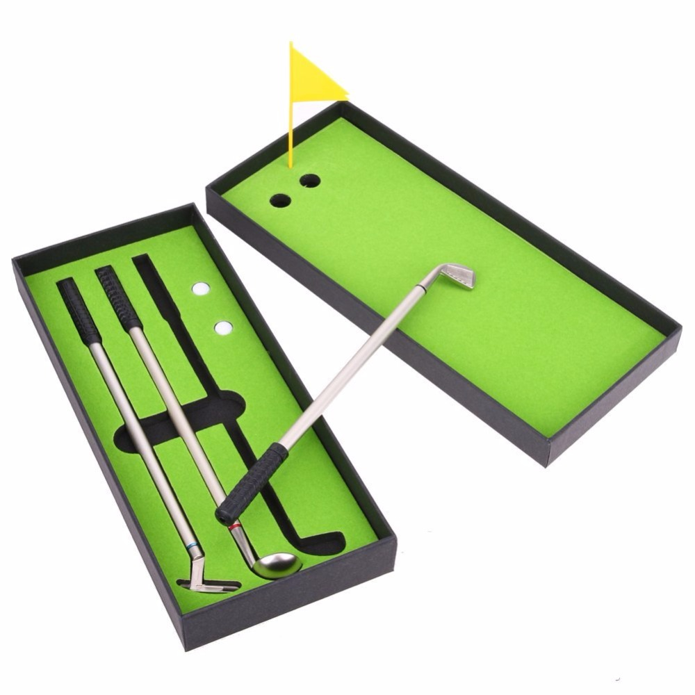 Caiton Golf Pen Set, Mini Desktop Golf Ball Pen Gift Set With Putting Green,flag,3golf Clubs Pens & 2 Balls