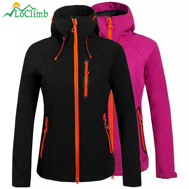 LoClimb Fleece Uppvärmd Softshell Vattentät Outdoor Ski Jacket Kvinnor Mountain Climbing Rain Windbreaker Coat Vandringsjackor, AW075