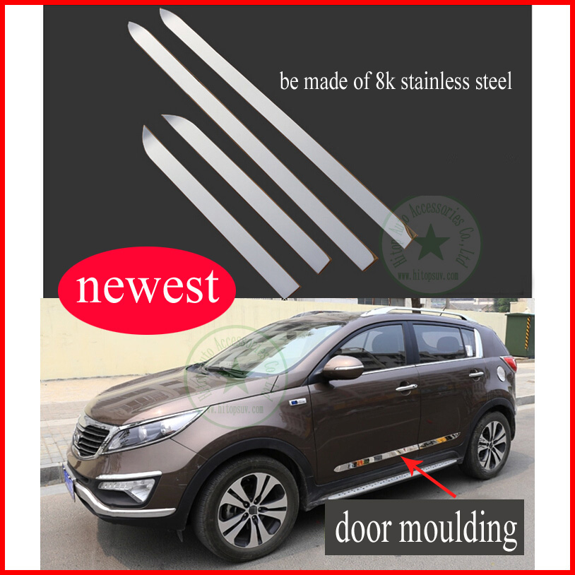door molding/ side moulding trim for KIA SPORTAGE, body decoration sill, slap-up stainless steel material, ( B model), 2010-2015