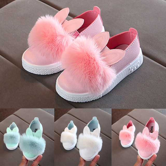ילדי נעלי ילדים סניקרס פעוט תינוק פרווה Sneaker בנות 2019 חמוד באני רך אנטי להחליק אחת נעלי Chaussures יוצקים enfants