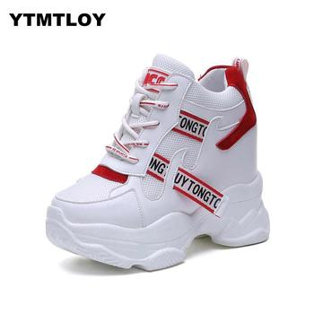 White Trendy Shoes Women High Top Sneakers Women Platform Ankle Boots Basket Femme  Chaussures Femmes  Height Increase Shoes 1