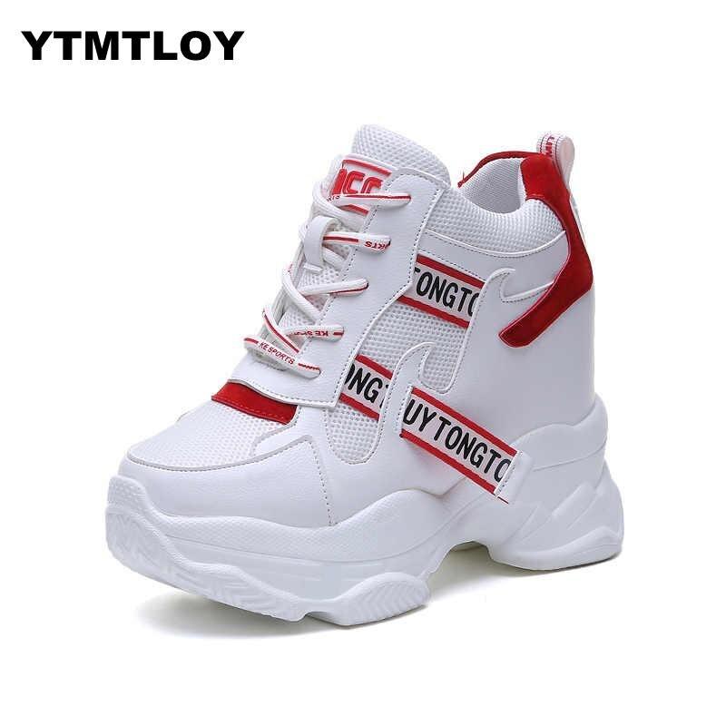 Blanc Chaussures à la mode Femmes haut baskets Femmes plate-forme bottines Basket Femme Chaussures Femmes hauteur augmenter Chaussures