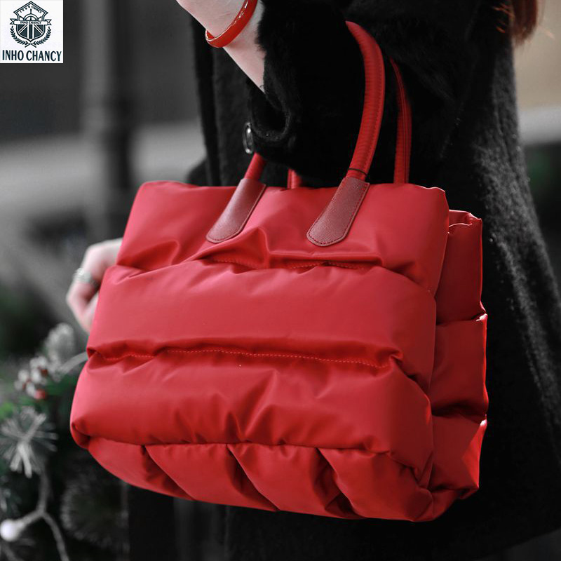 INHO CHANCY Winter Warm Women Tote Handbag Down Feather Female Shoulder Bag Space Cotton Crossbody Bag Bolsa Feminina Sac A Main hot sale women fashion colorful light feather handbag high quality shoulder bag space down cotton padded tote bs162