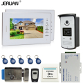 JERUAN NEW 7`` LCD Screen Video DoorPhone Intercom System 2 Monitors +700TVL RFID Access Camera + Remote Control +E-Lock