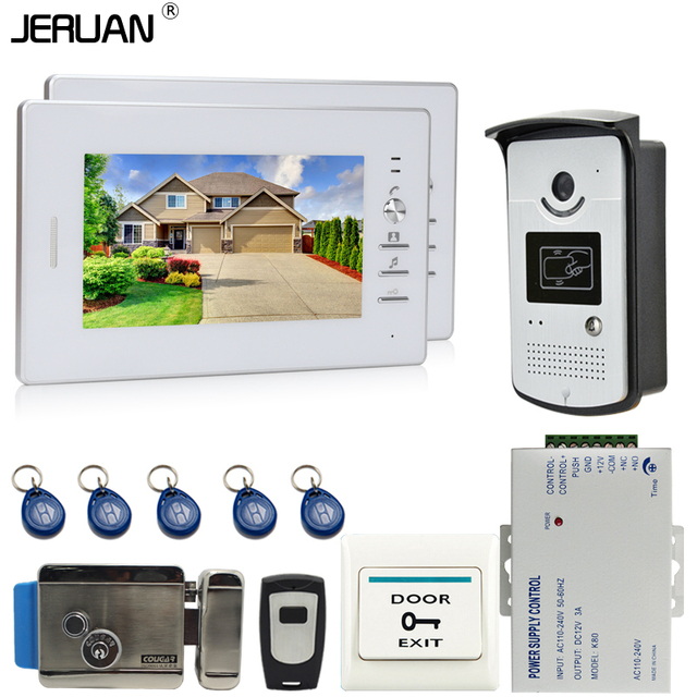 JERUAN NEW 7`` LCD Screen Video DoorPhone Intercom System 2 Monitors +700TVL RFID Access Camera + Remote Control +E-Lock