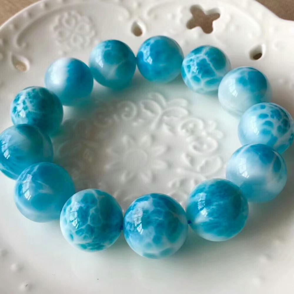 Bracelet de perles bleues Larimar naturelles de 16mm de la dominiqueBracelet de perles bleues Larimar naturelles de 16mm de la dominique