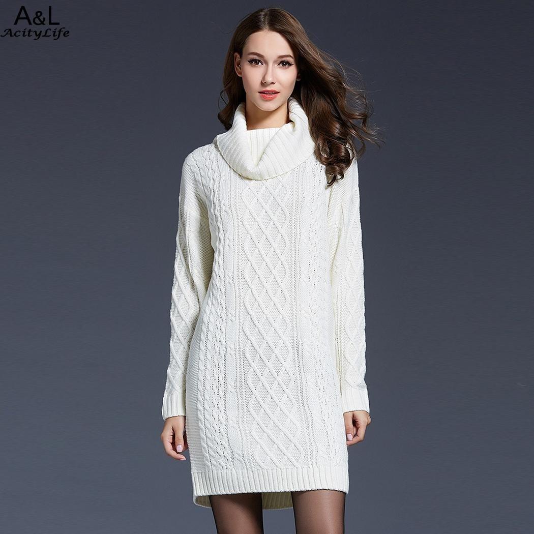 FANALA Winter Long Sweaters Women Turtleneck Knitted Sweater Christmas Long Sleeve Women Sweaters Pullovers pull femme hiver
