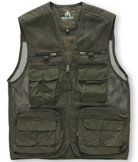 Mesh Vest For Mens Pocket Vest Sleeveless Breathable Openwork Camouflage Journalist Photographer Waistcoat Jacket Coats