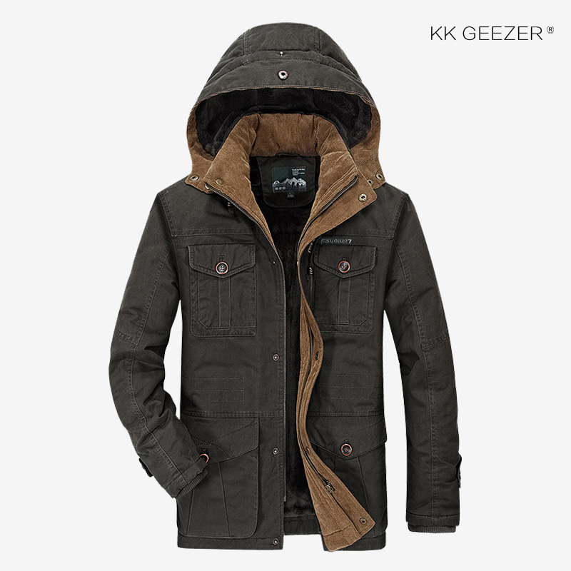 Mens Winter Jackets 5XL 6XL Military Parka Outerwear Warm High Quality  Thick Fleece Cotton Hooded Fashion Casual Coat Khaki 4XL-in Jackets from  Men s ... 263a5fb9e32