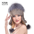 YCFUR 2016 Fashion Women Earmuffs Beanies Winter Natural Mink Fur Caps With Silver Fox Fur Pompom Bomber Hats For Girls YH185-2