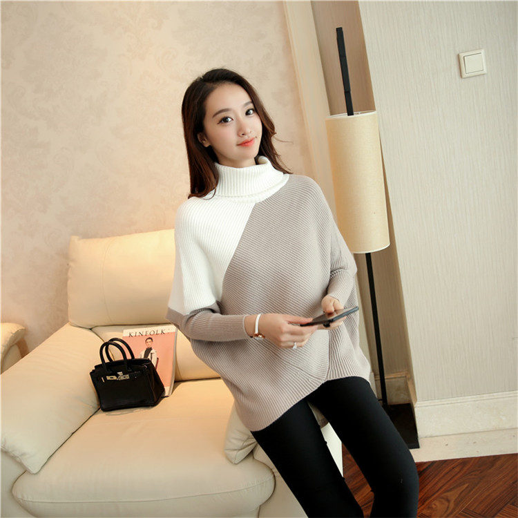 LA Female winter sweater loose turtleneck sweater 2018 irregular Korean female backing sweater coat thick 3 colour