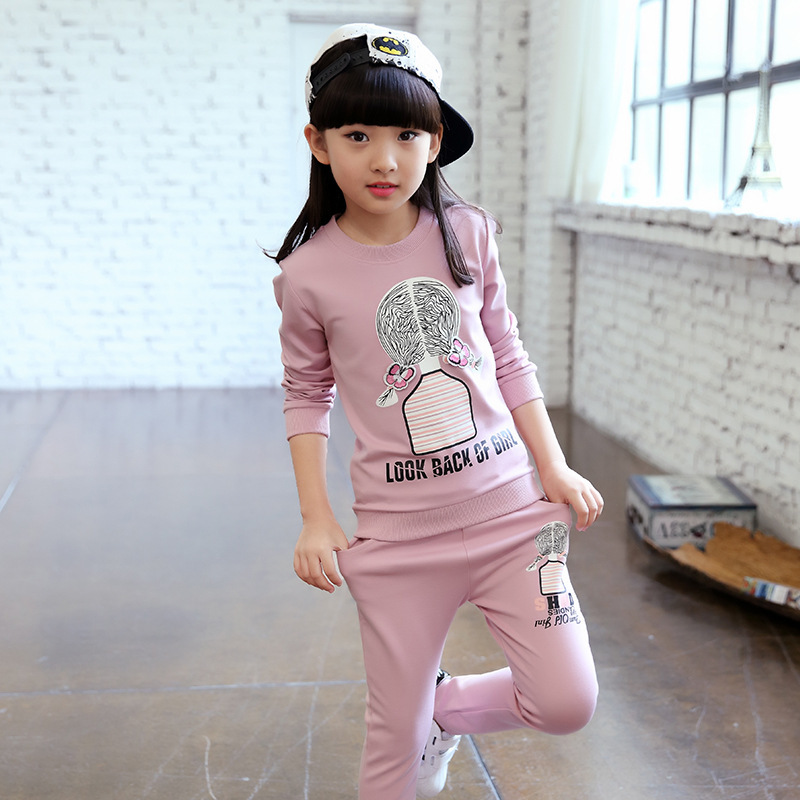 5b5ed6ecee371 US $7.88 20% OFF Tracksuit for Girls 2018 New Cartoon Girls Sport Suits  Spring Autumn Children Clothing Sports Set Casual Kids Clothes-in Clothing  ...