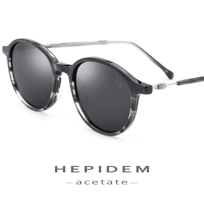 Acetate Sunglasses Men Fashion Brand Designer Polarized Sunglass New Vintage Retro Round Sun Glasses for Women Screwless Eyewear
