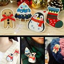 4Pcs/Set Felt DIY Fashion Girl Sweater Brooches Christmas Style Kids Cute Badges Clothes Pins Handmade Felt DIY Package Set