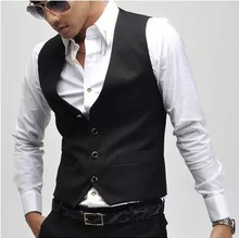 Nova versão V neck vest gilet casual Único breasted coletes dos homens por atacado terno do lazer para homens colete colete preto(China (Mainland))