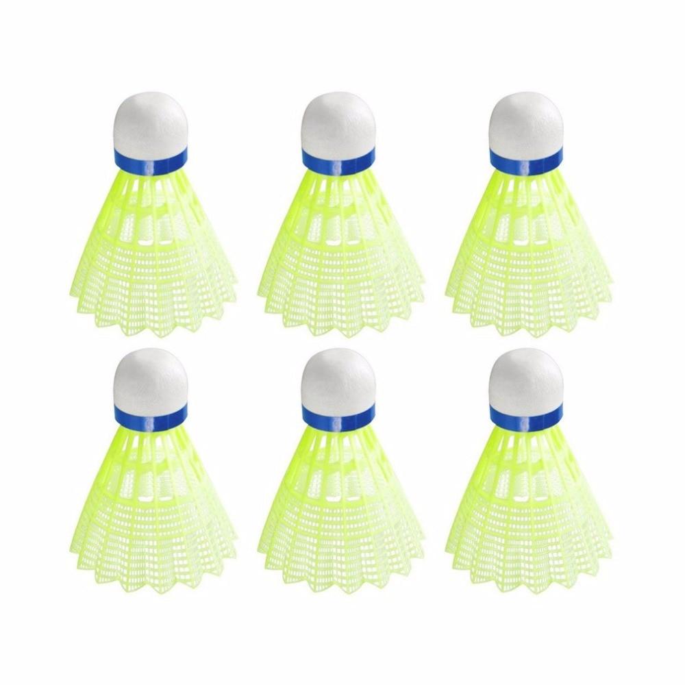6pcs/set Super Durable Light Plastic Yellow/White Nylon Badminton Ball Training Ball Plastic Shuttle Cork Wood Ball Head