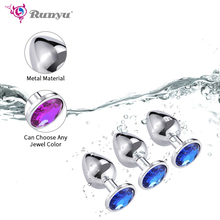 Intimate Metal Anal Plug With Crystal Jewelry Smooth Touch Butt Plug No Vibrator Anal Bead Anus Dilator Anal Toys for Men/Women