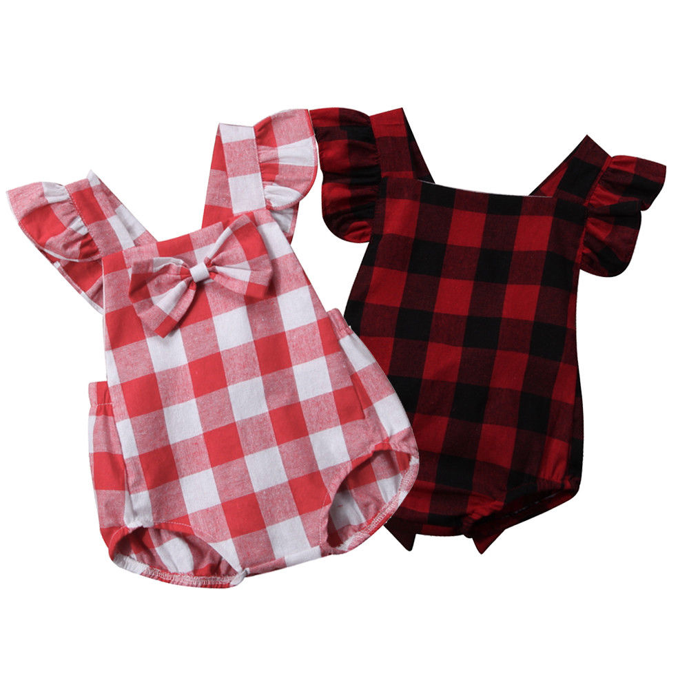 Newborn Toddler Baby Girls Clothes Cotton Plaid Fall Bodysuit Outfits 0-18 M
