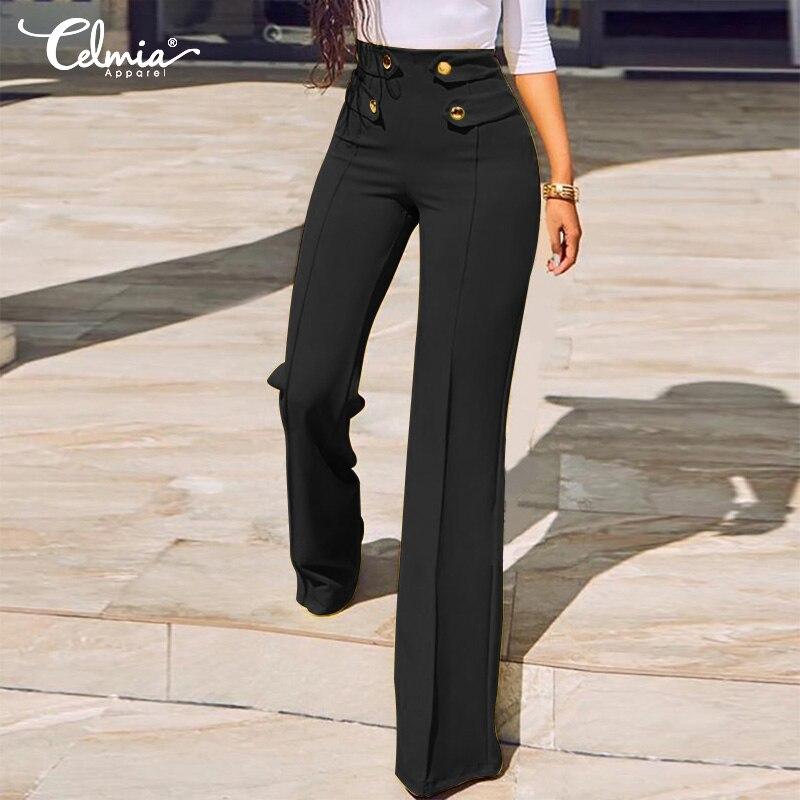 Plus Size Women   Wide     Leg     Pants   Celmia 2019 Fashion High Waist Trousers Buttons Ladies Work Elegant Casual Solid Loose Pantalon