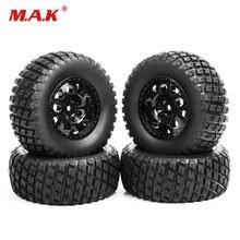 4 pz/set RC 1:10 breve corso pneumatici per camion e ruota 12mm esagonale misura per TRAXXAS SlASH pneumatici per cerchioni auto