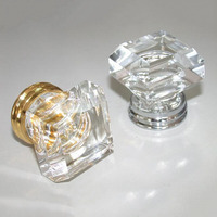 10PCS LOT FREE SHIPPING 33MM CLEAR SQUARE CRYSTAL KNOB ON A CHROME BRASS BASE CP303