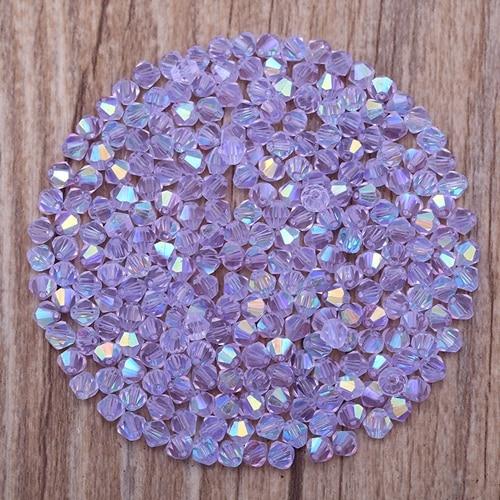 Яркие фиолетовые AB 4 мм 100 шт Австрийские хрустальные биконусные бусины 5301 свободные хрустальные бусы ожерелье браслет ювелирные изделия ручной работы S-61 - Цвет: Лаванда