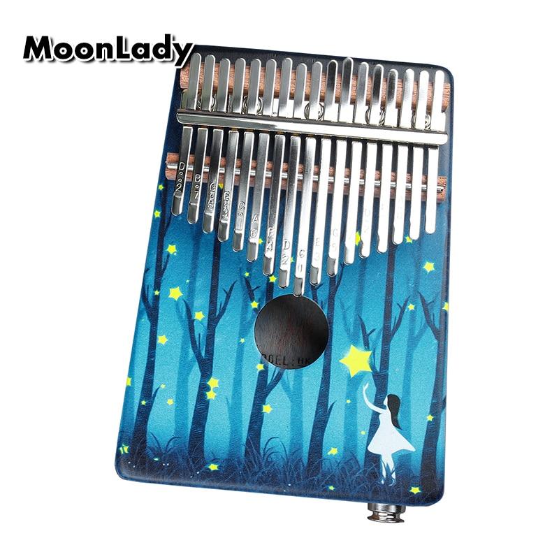 17 Keys Kalimba Thumb Piano High-Quality Wood Mahogany Body Thumb Piano Musical Instrument Kalimba Accessories With Audio Input