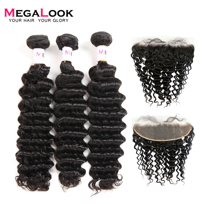 Megalook Peruvian Deep Wave Bundles With Frontal 100% Remy Human Hair Bundles With Lace Front Closure 13X4