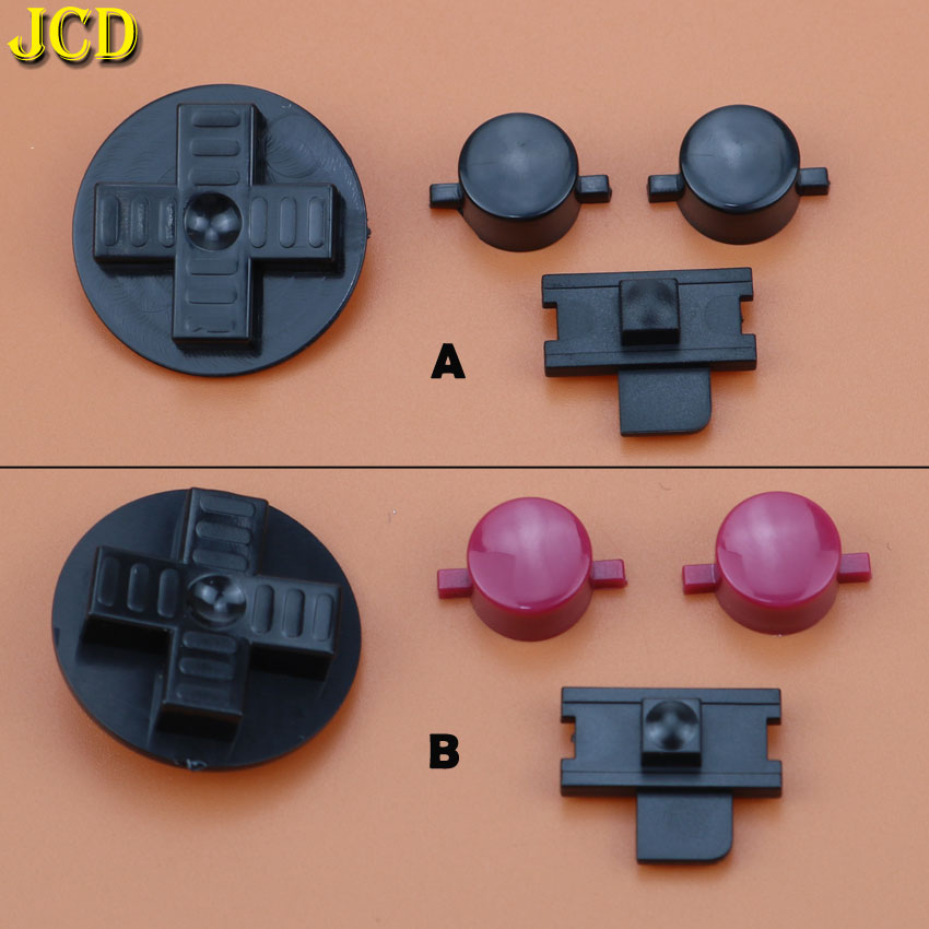 JCD 1Set Red Black Buttons Set Replacement For Gameboy Classic GB Keypads For GBO DMG DIY For Gameboy A B Buttons D-pad