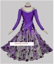 Purple Standard Ballroom Dresses Women Custom Made Waltz Tango Modern Dancing Costume Lady's Ballroom Competition Dance Dress