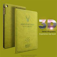 UTOPER Retro Herten Patroon Case Voor iPad 2 Case Slaap/Wakker Flip 3D Embossing Lederen Cover Voor iPad 3 4 Smart Standhouder Bag