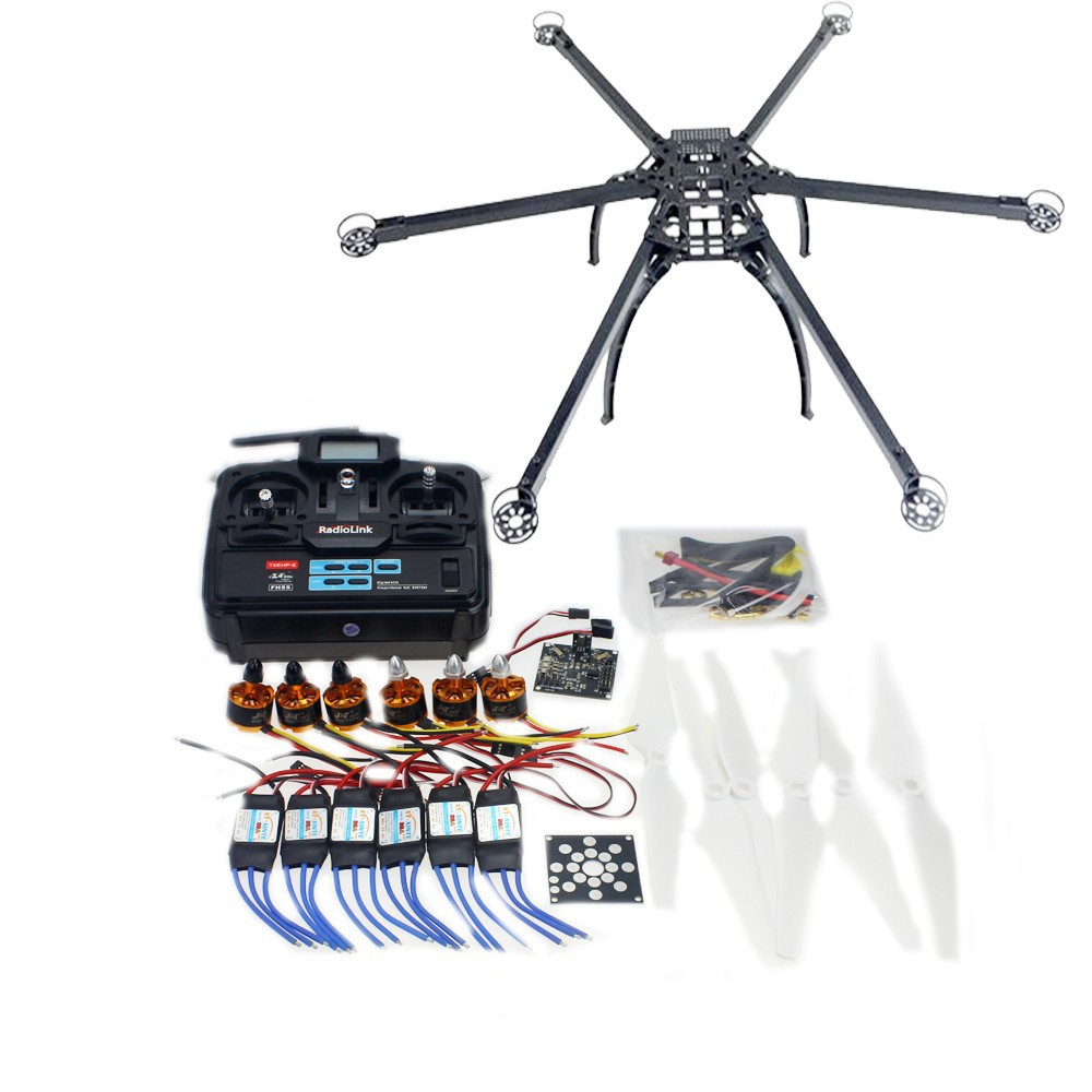 Multi-rotor DIY Folding Hexacopter Aircraft Frame Kit Radiolink T6EHP-E TX&RX ESC Motor KK V2.3 Circuit Board F10513-A