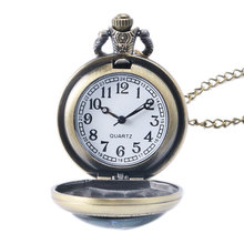 Bronze Cool Fashion World of Warcraft Draenei Theme Quartz Pocket Watches Fashion Necklace For Boy Men Gift Pendant Clock Hours
