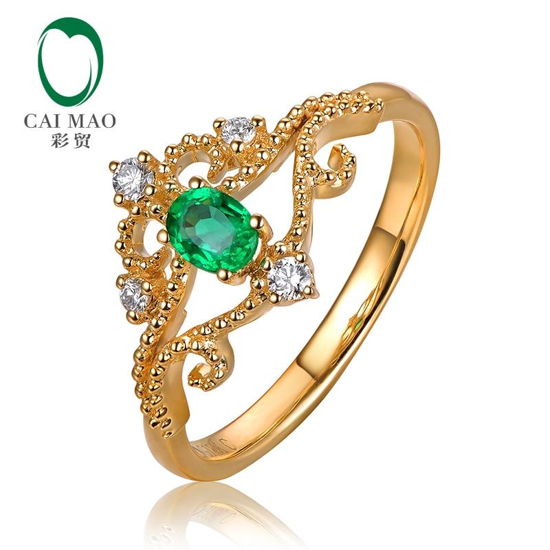 Caimao bijoux Vintage solide 14k or jaune émeraude naturelle et diamant bague de fiançailles pour anniversaire