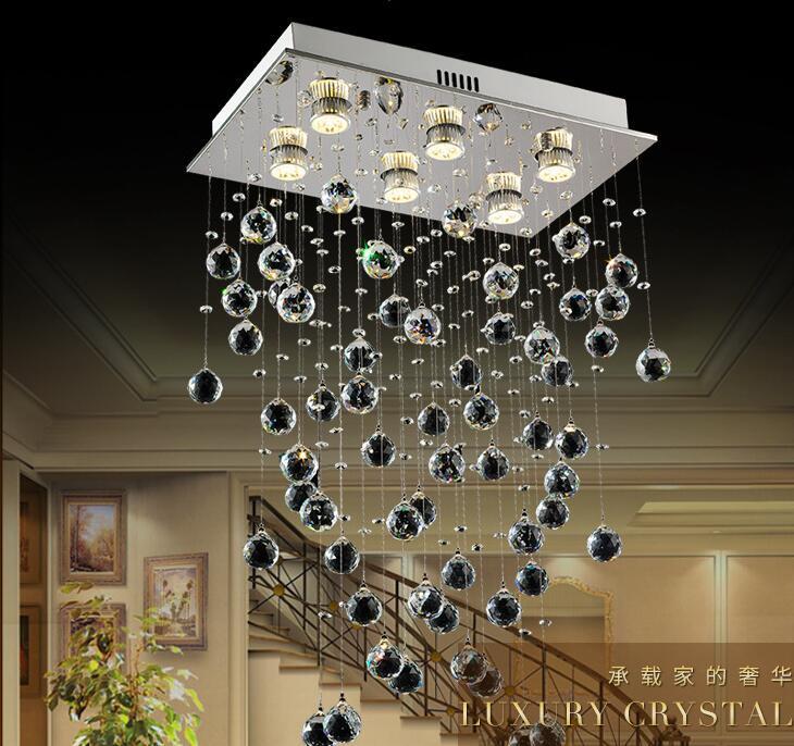 Moderne Led petit lustre en cristal éclairage plafonnier pour cuisine salle de bain placard chambre lampe décorative L50xW30xH80 GU10x6
