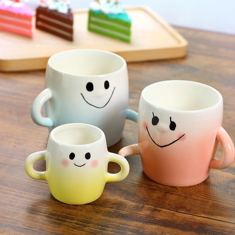 JOUDOO 3pcs Set Family Ceramic Mug Tazas De Ceramica Cartoon Milk Coffee Tea Cup Porcelain Mugs Nice Gifts 35 in Mugs from Home Garden
