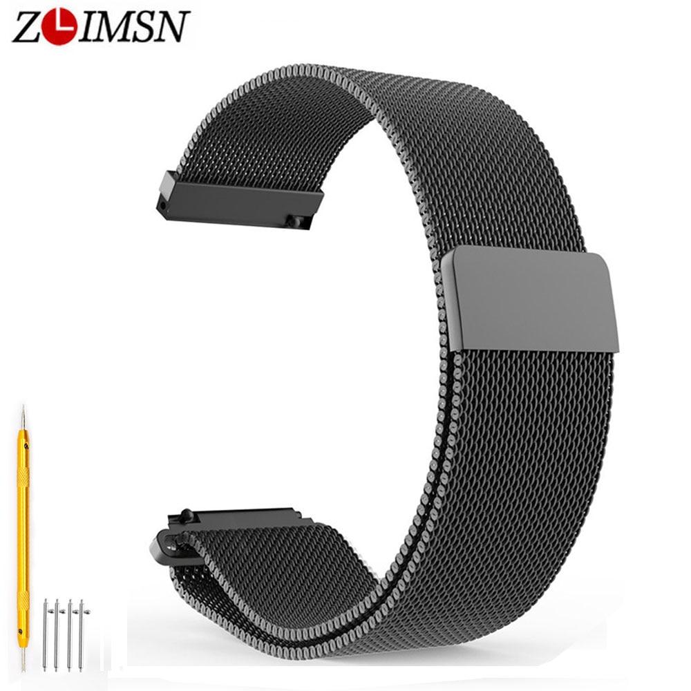 ZLIMSN 18 20 22mm Milan Stainless Steel Silver Black Loop Watchbands Quick Release Magnetic Adjustable Strap For mens womens