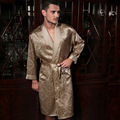 Top Quality Natural Silk Men Robes Fashion Printed 100% Pure Silk Male Sleepwear Long-Sleeved Bathrobes Kimono 2035B
