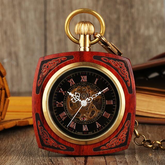 Exquisite Wooden Pocket Watch Unisex Vintage Hand Wind Mechanical Watches Square